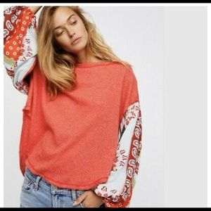 FREE PEOPLE RED FLORAL THERMAL